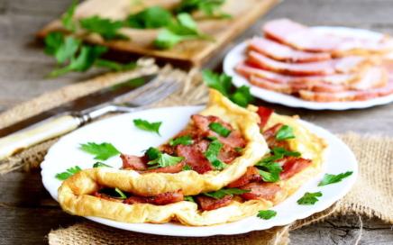 Omelett Wrap mit Schinken
