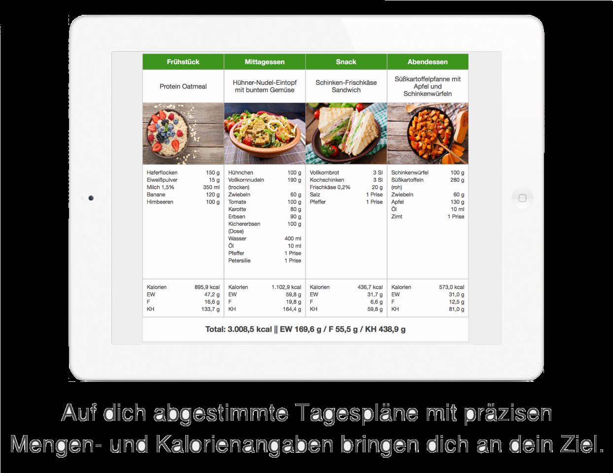 Zielführende Ernährungspläne