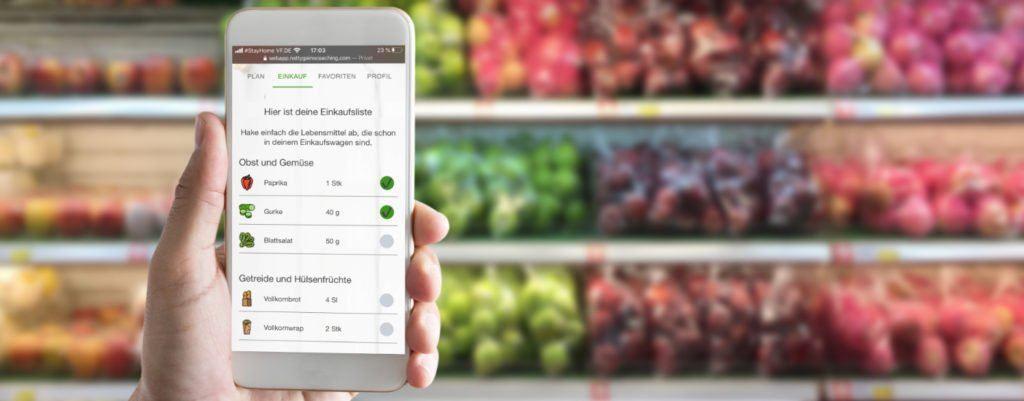 Natty Gains - Ernährungspläne auf dem Handy für den Einkauf im Supermarkt