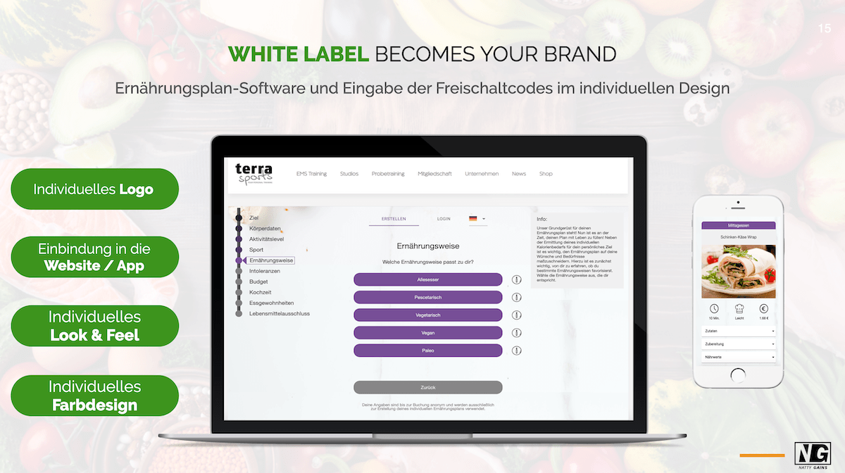 White Label Ernährungsplan-Software - Ernährungspläne erstellen mit Natty Gains