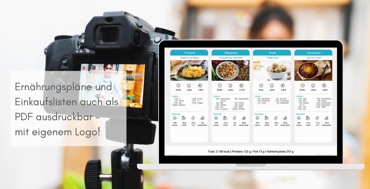Software für Online Ernährungsberatung - Ernährungs-App für Food Blogger - Ernährungspläne, Einkaufslisten und Rezepte mit eigenem Logo