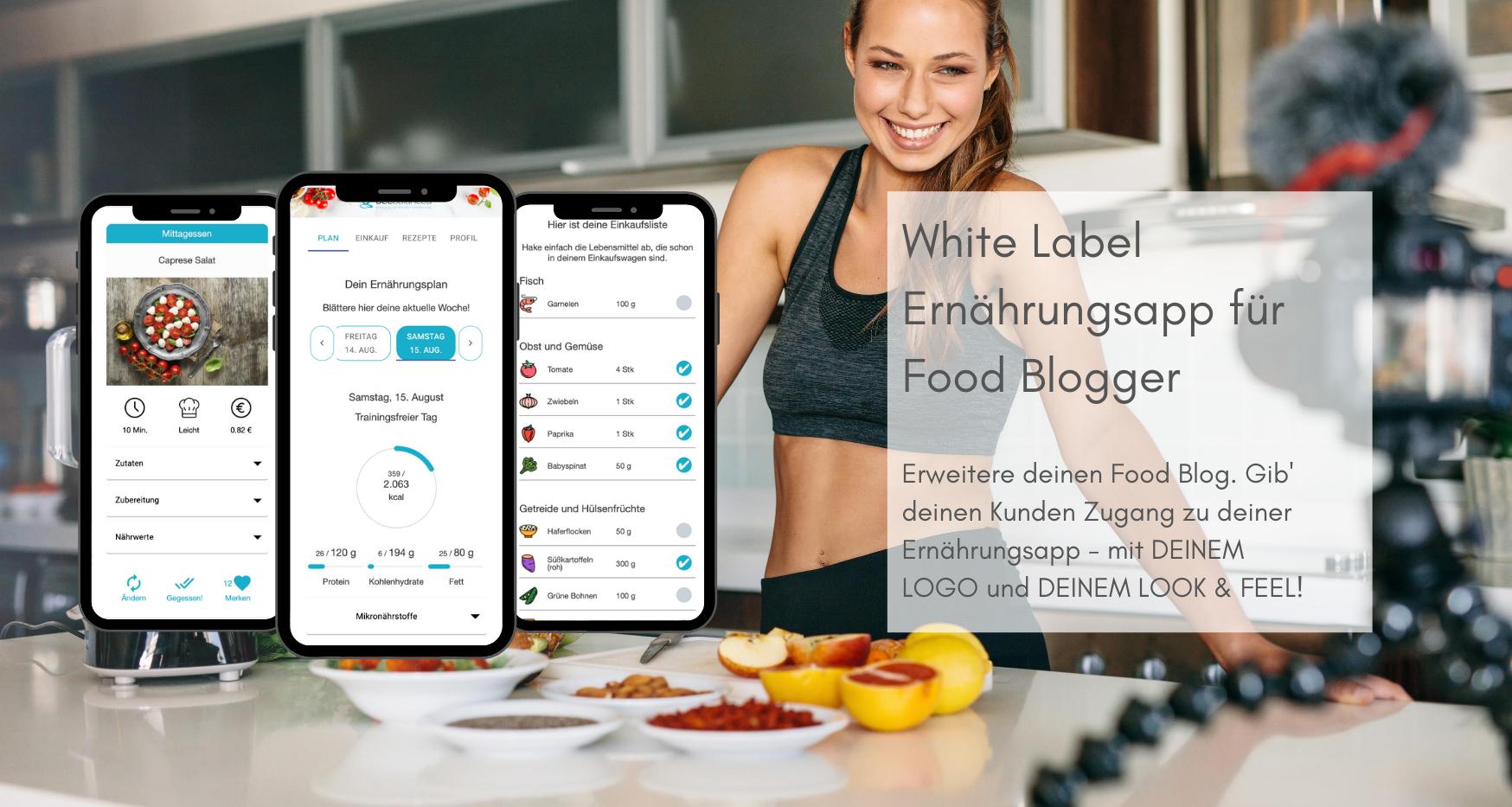 White Label App für Food Blogger - Software zur Online Ernährungsberatung - Ernährungspläne erstellen leicht gemacht mit Natty Gains