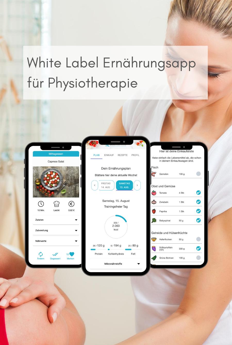 White Label Ernährungs-App für Physiotherapie (mobil) - Ernährungspläne erstellen leicht gemacht