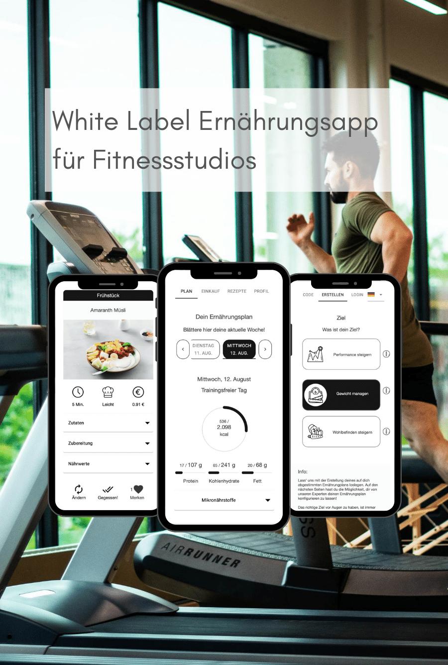 White Label Ernährungsapp für Fitnessstudios (mobil) - Ernährungspläne erstellen leicht gemacht