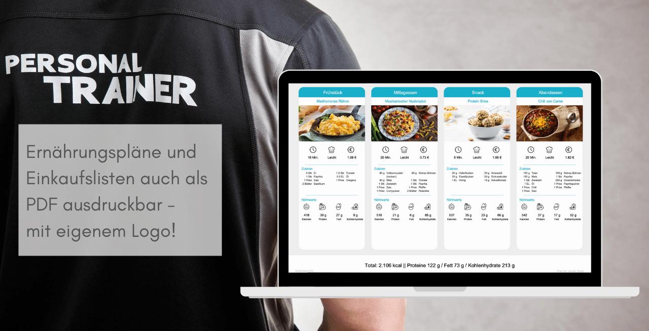 White Label Ernährungsapp für Personal Trainer - Ernährungspläne, Einkaufslisten und Rezepte mit eigenem Logo