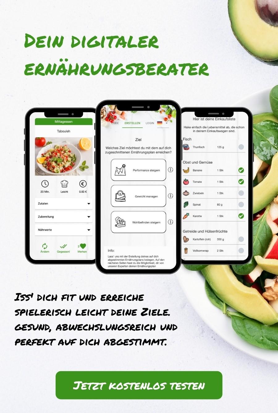 Dein digitaler Ernährungsberater per Ernährungs-App - Ernährungspläne für Muskelaufbau, Abnehmen, gesunde Ernährung erstellen - Ernährungscoach mit gesunden Rezepten