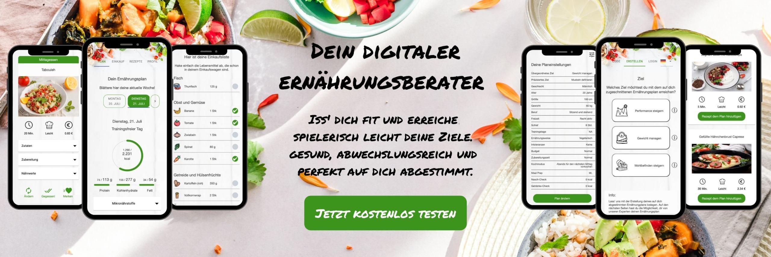 Dein digitaler Ernährungsberater per Ernährungs-App - Ernährungspläne erstellen mit Natty Gains - Handyansicht Ernährungs-App für gesunde Ernährung