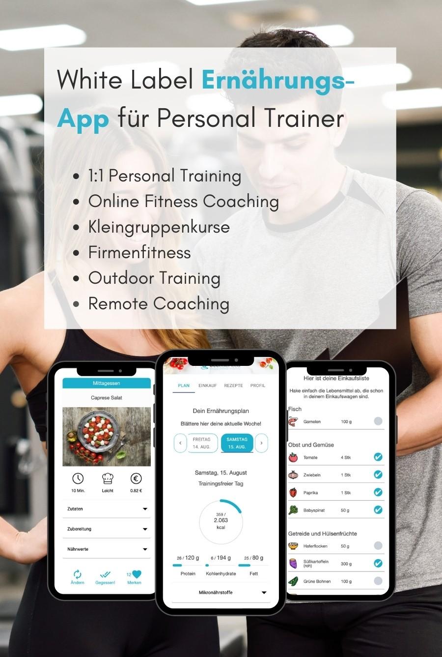 Ernährungs-App für Personal Trainer als White Label- Software für Online Ernährungsberatung - Ernährungspläne erstellen leicht gemacht - Online Fitness Training, Outdoor Training, Remote Coaching