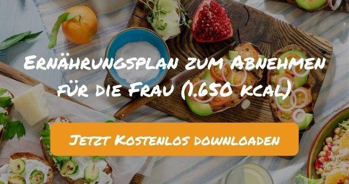 Ernährungsplan zum Abnehmen für die Frau (1.650 kcal) - Kostenlos als PDF zum Downloaden bei Natty Gains - Gesund ernähren leicht gemacht