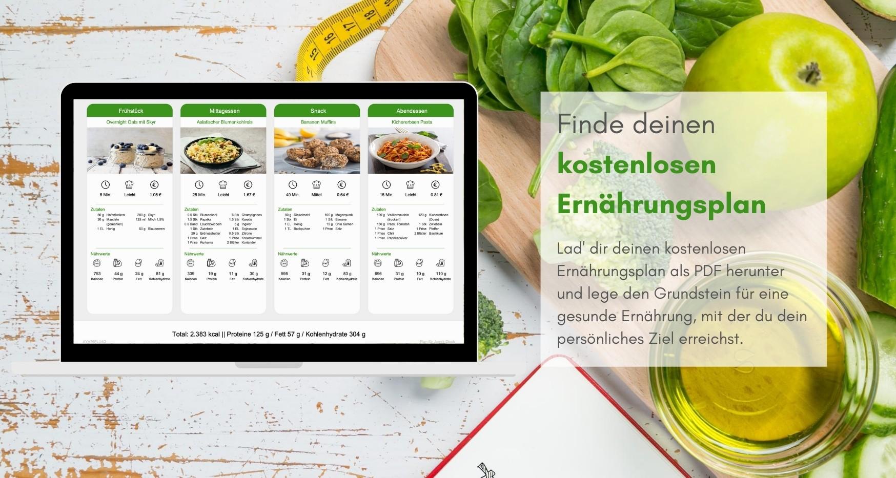 Kostenloser Ernährungsplan zum Abnehmen, für Muskelaufbau, Leistungssteigerung, Gesunde Ernährung, Vegane Ernährung, Vegetarisches Essen, Schnelles Kochen - Natty Gains