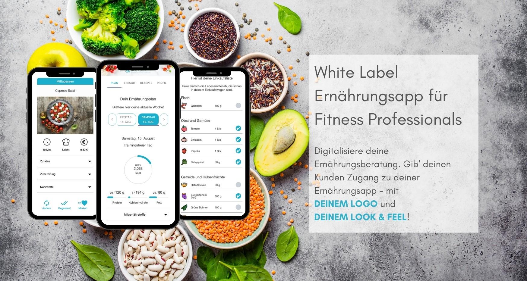 Software für Online Ernährungsberatung - White Label Ernährungsapp für Fitness Professionals wie Personal Trainer, Ernährungsberater, Fitnessstudios