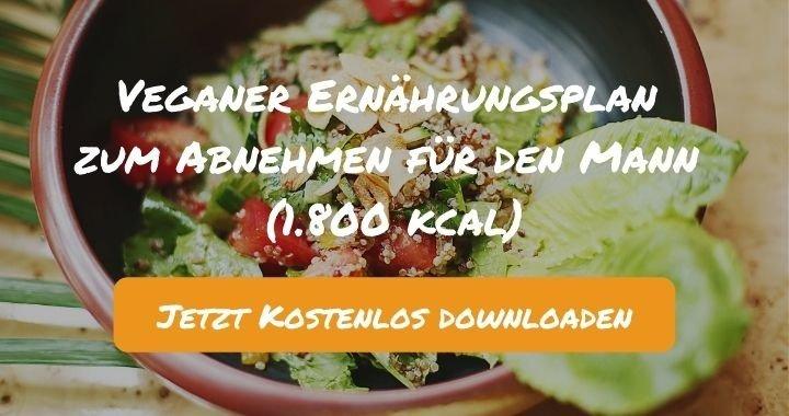 Veganer Ernährungsplan zum Abnehmen für den Mann (1.800 kcal) - Kostenlos als PDF zum Downloaden bei Natty Gains - Gesund ernähren leicht gemacht