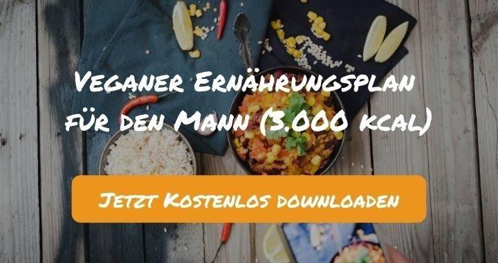Veganer Ernährungsplan für den Mann (3.000 kcal) - Kostenlos als PDF zum Downloaden bei Natty Gains - Gesund ernähren leicht gemacht