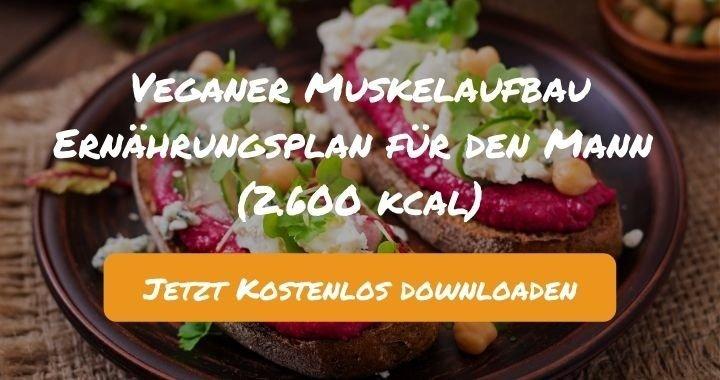 Veganer Muskelaufbau Ernährungsplan für den Mann (2.600 kcal) - Kostenlos als PDF zum Downloaden bei Natty Gains - Gesund ernähren leicht gemacht