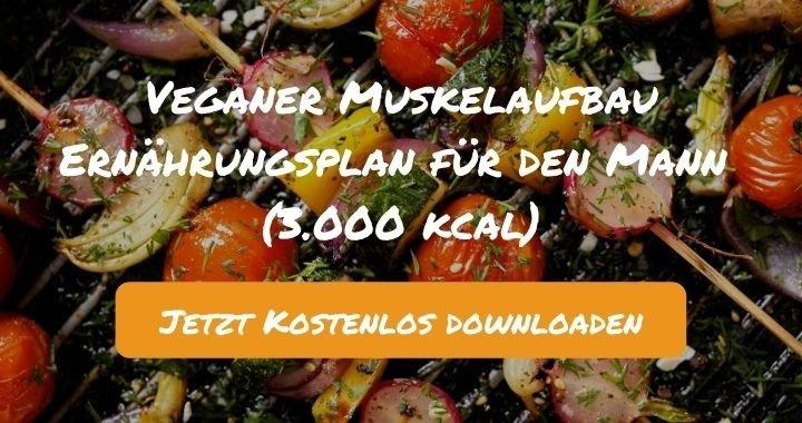Veganer Muskelaufbau Ernährungsplan für den Mann (3.000 kcal) - Kostenlos als PDF zum Downloaden bei Natty Gains - Gesund ernähren leicht gemacht