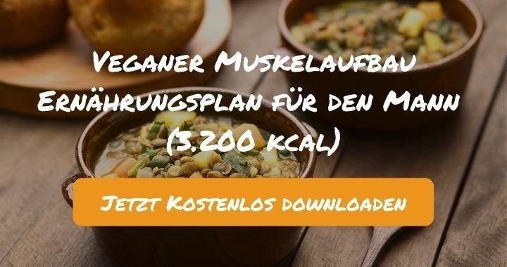 Veganer Muskelaufbau Ernährungsplan für den Mann (3.200 kcal) - Kostenlos als PDF zum Downloaden bei Natty Gains - Gesund ernähren leicht gemacht