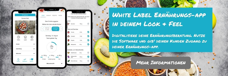 White Label Ernährungs-App als Lösung für digitale Ernährungsberatung für dein Business - Ernährungspläne erstellen leicht gemacht per Natty Gains Software