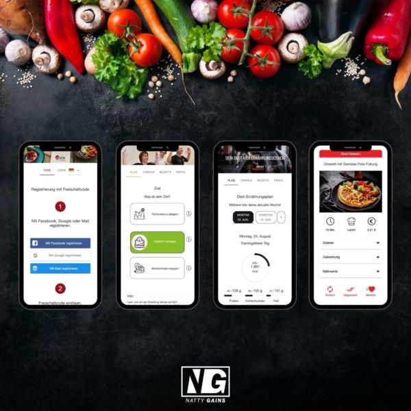 Ernährungs-Software + App zur Online Ernährungsberatung mit Natty Gains - Ernährungspläne zum Abnehmen, Muskelaufbau, Clean Eating, Performance steigern