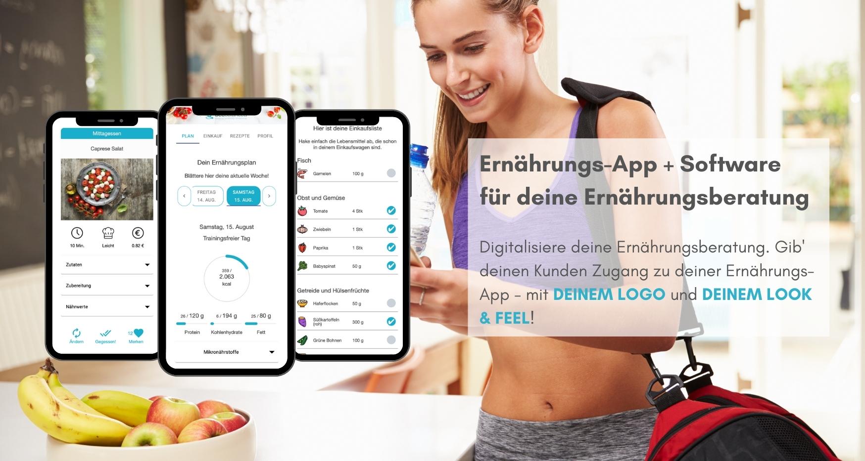 Ernährungs-App + Software für Online Ernährungsberatung für Personal Trainer, Ernährungsberater, Fitnessstudios, Gesundheitsberater, Physiotherapeuten, Online Fitness Coaches