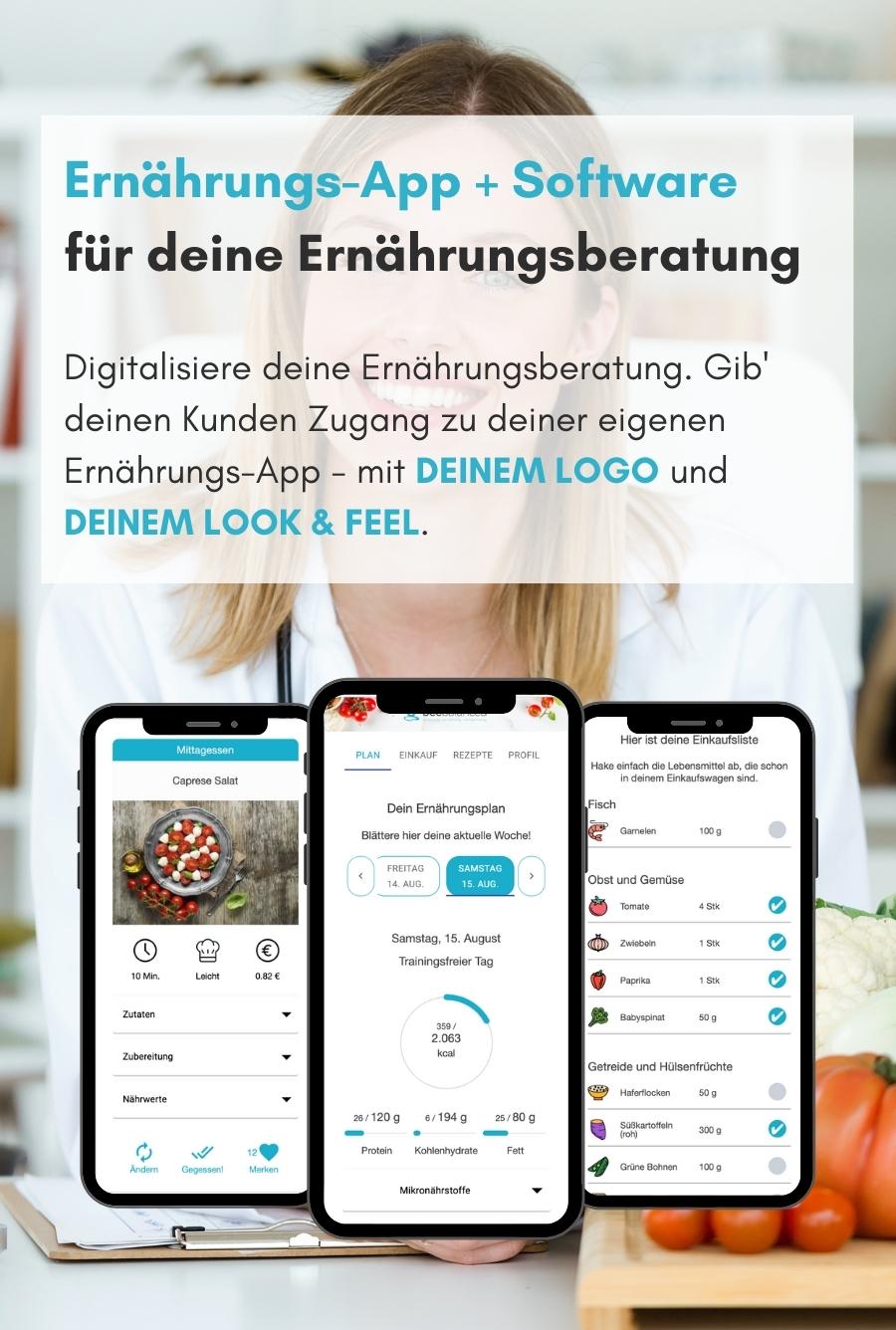 Ernährungs-App für Ernährungsberater als Software für Ernährungsberatung - Ernährungspläne erstellen leicht gemacht