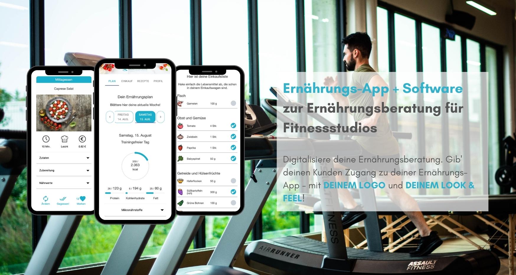 Ernährungs-App für Fitnessstudios als Software für Ernährungsberatung - Ernährungspläne erstellen leicht gemacht