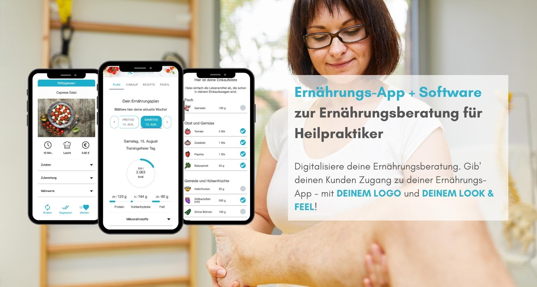 Ernährungs-App für Heilpraktiker als Software für Ernährungsberatung - Ernährungspläne erstellen leicht gemacht