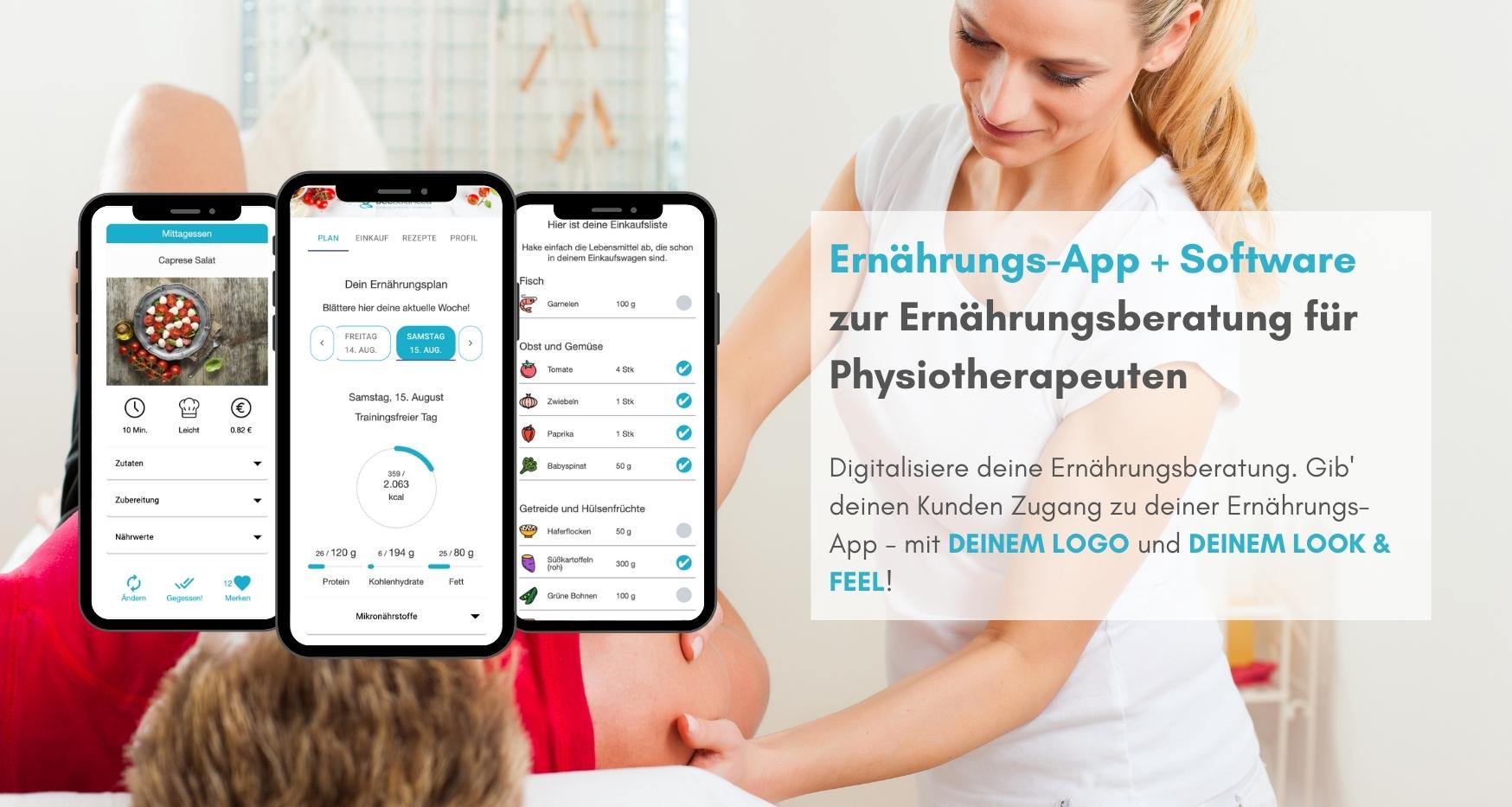 Ernährungs-App für Physiotherapie als Software für Ernährungsberatung - Ernährungspläne erstellen leicht gemacht
