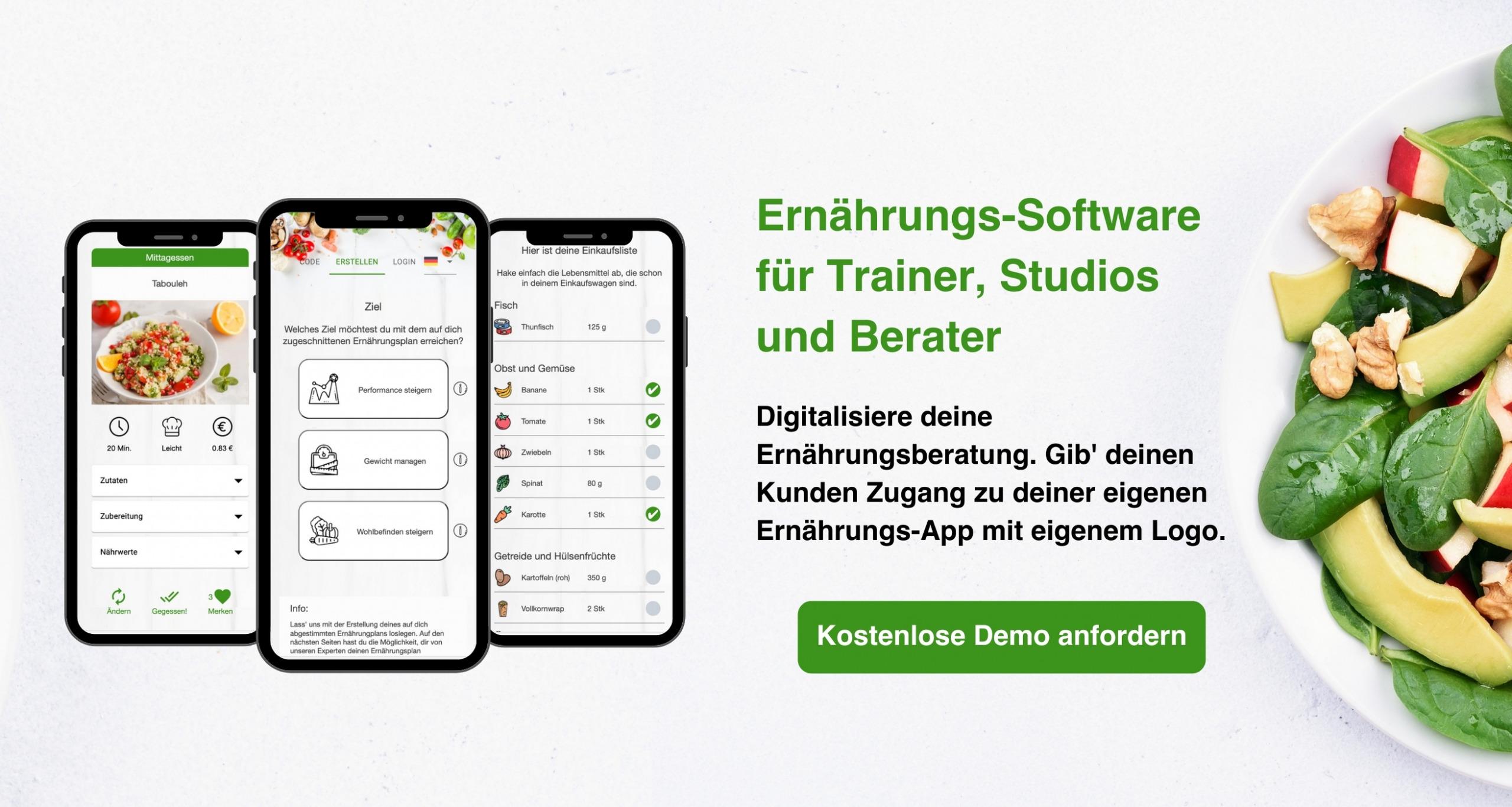 Ernährungsberater-Software per Ernährungs-App - Ernährungspläne erstellen für Personal Trainer, Fitnessstudios, Ernährungsberater mit Natty Gains