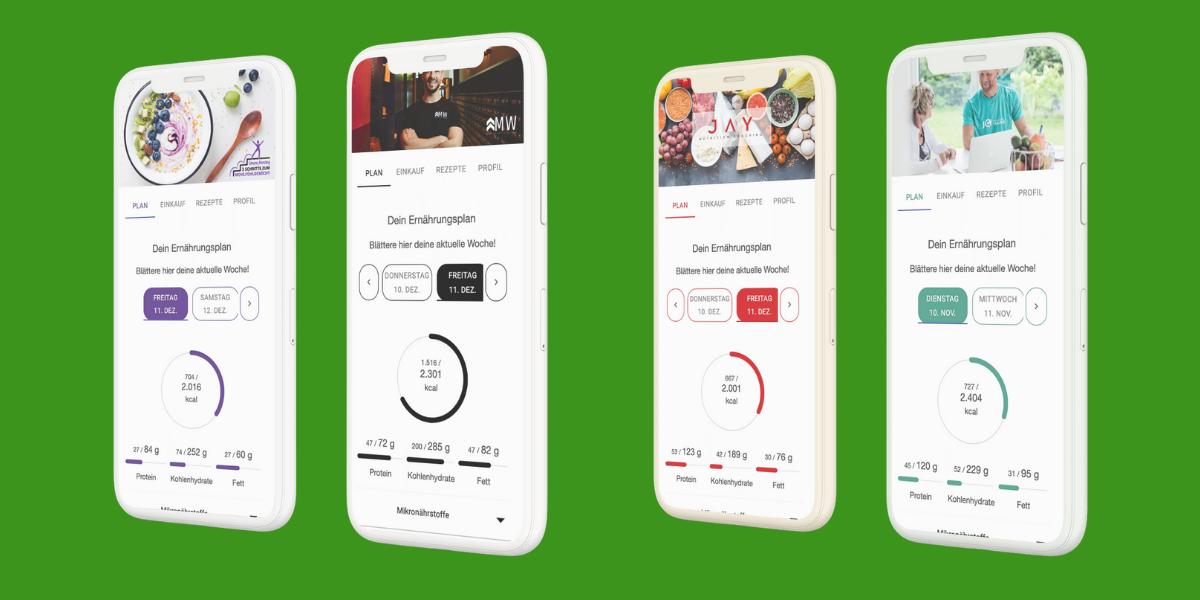 Ernährungs-Software + App als White Label Lösung mit eigenem Logo, Farbcode, Header - für Trainer, Berater und Coaches