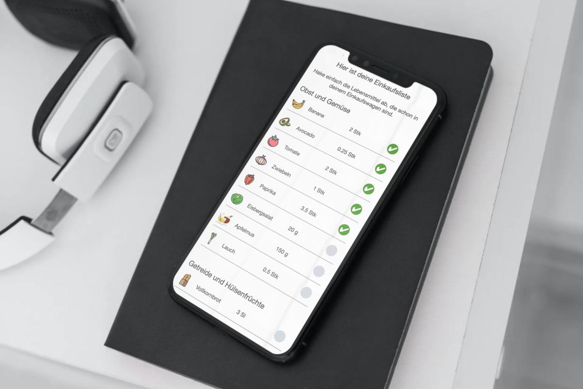 Ernährungs-Software + App für Personal Trainer, Ernährungsberater, Fitness Coaches und Fitnessstudios - Einkaufsliste