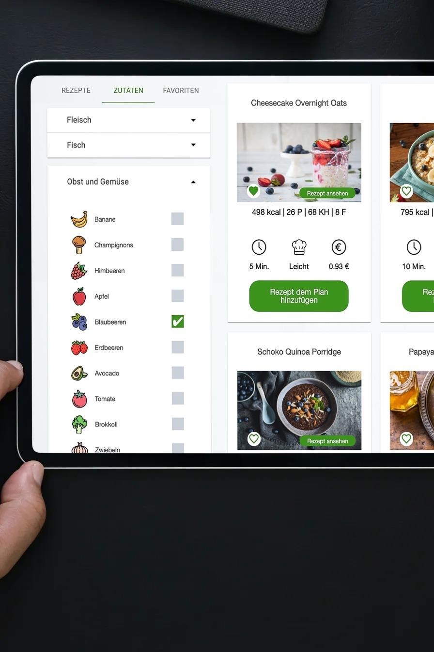 Ernährungs-Software + App für Personal Trainer, Ernährungsberater, Fitness Coaches und Fitnessstudios Lebensmittel-Datenbank