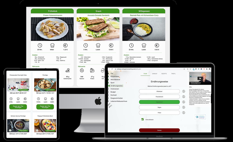 Ernährungs-App + Software für Online Ernährungsberatung für Personal Trainer, Ernährungsberater, Fitnessstudios - Ernährungspläne erstellen mit Natty Gains