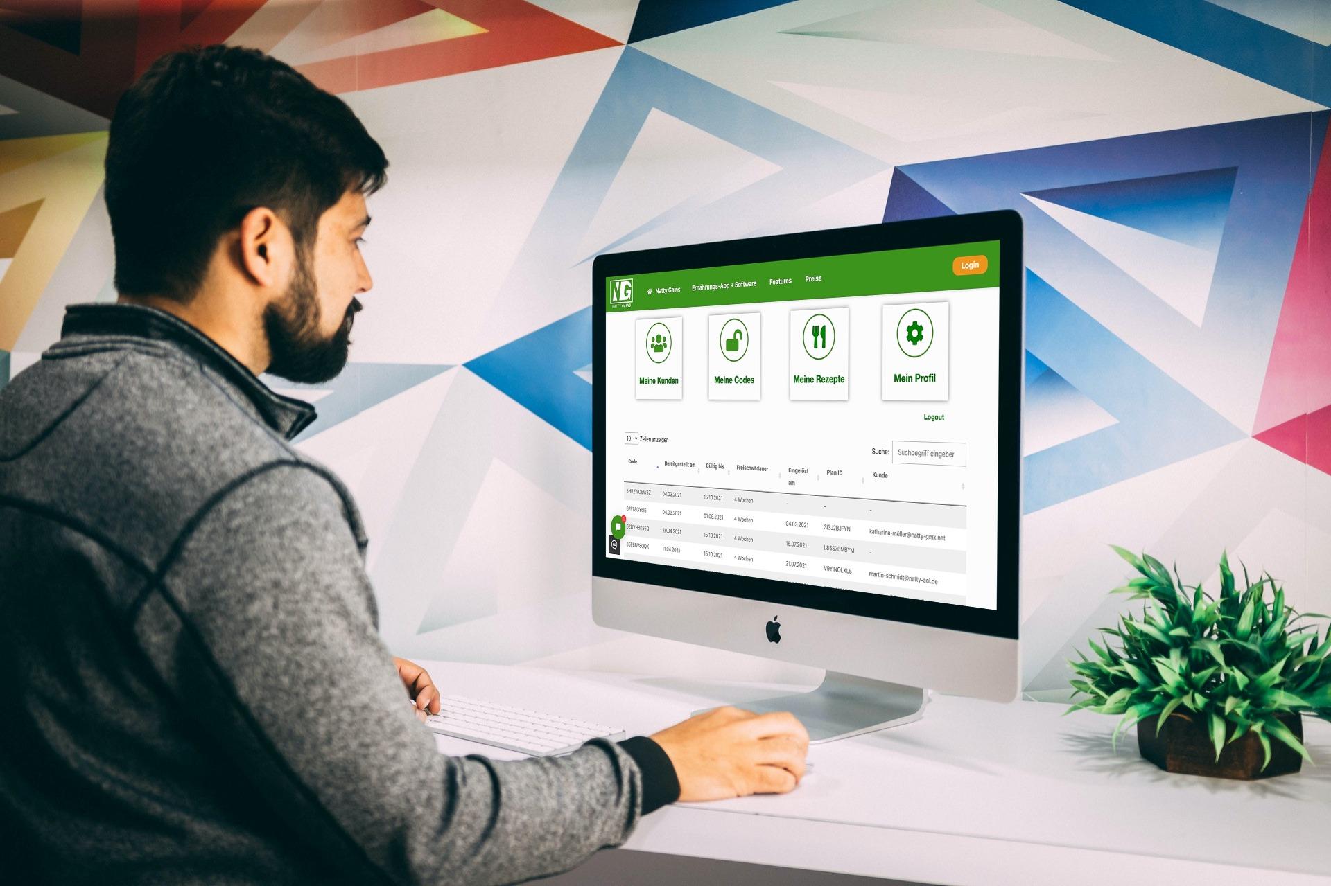Ernährungs-Software für Personal Trainer, Ernährungsberater und Fitness Coaches - Dashboard zur Kundenübersicht
