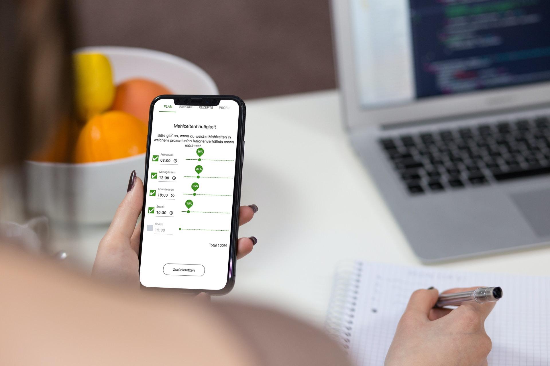 Ernährungsberater Software mit App für Ernährungscoaching - Ernährungspläne, Rezepte, Einkaufslisten - Mahlzeitenfrequenz