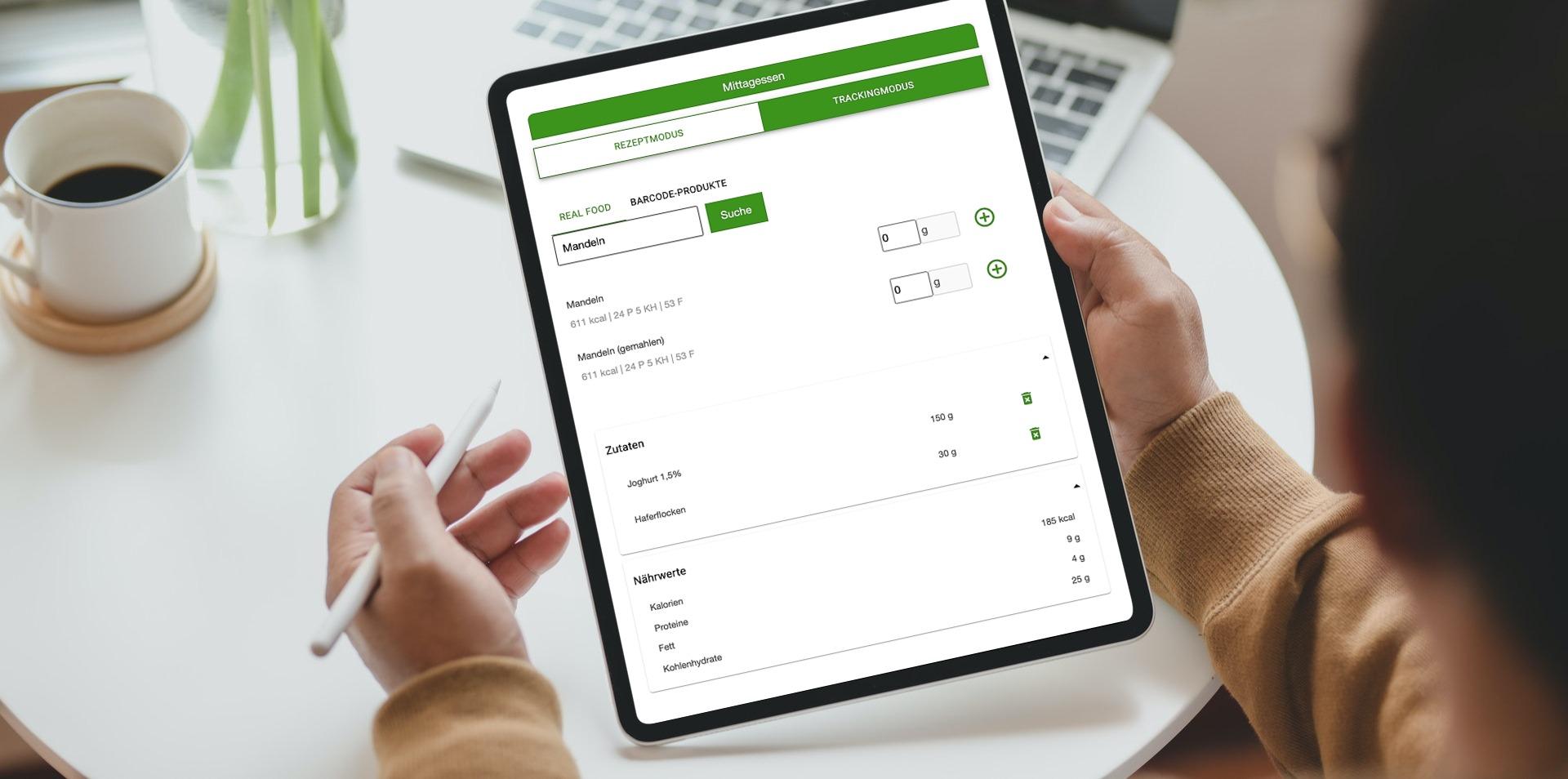Ernährungsberater Software mit App für Ernährungscoaching - Ernährungspläne, Rezepte, Einkaufslisten - Trackingmodus