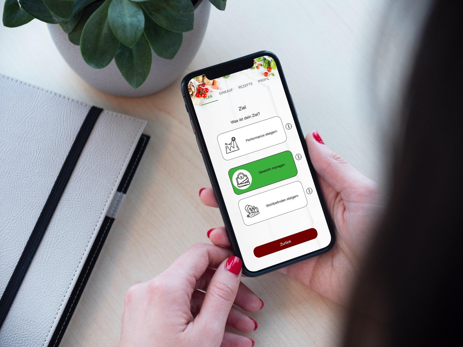 Ernährungsberater Software mit App für Ernährungscoaching - Ernährungspläne, Rezepte, Einkaufslisten - Zielauswahl