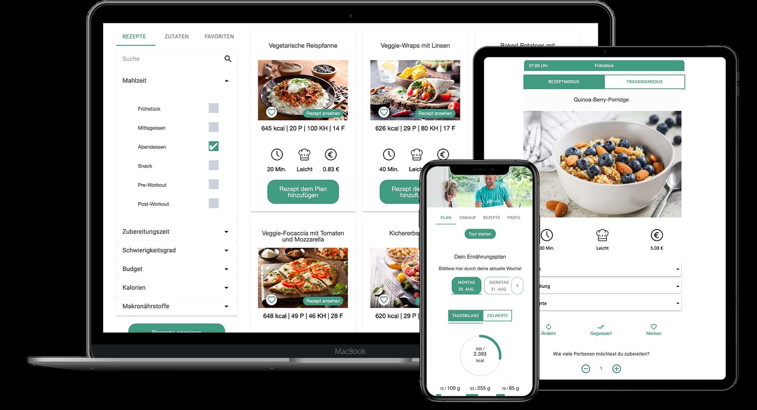 Erfahrungen zur Natty Gains Ernährungssoftware + Ernährungs-App von Personal Trainern, Ernährungsberatern, Gesundheitscoaches - Mockups von Jörg Gerstmann aus München