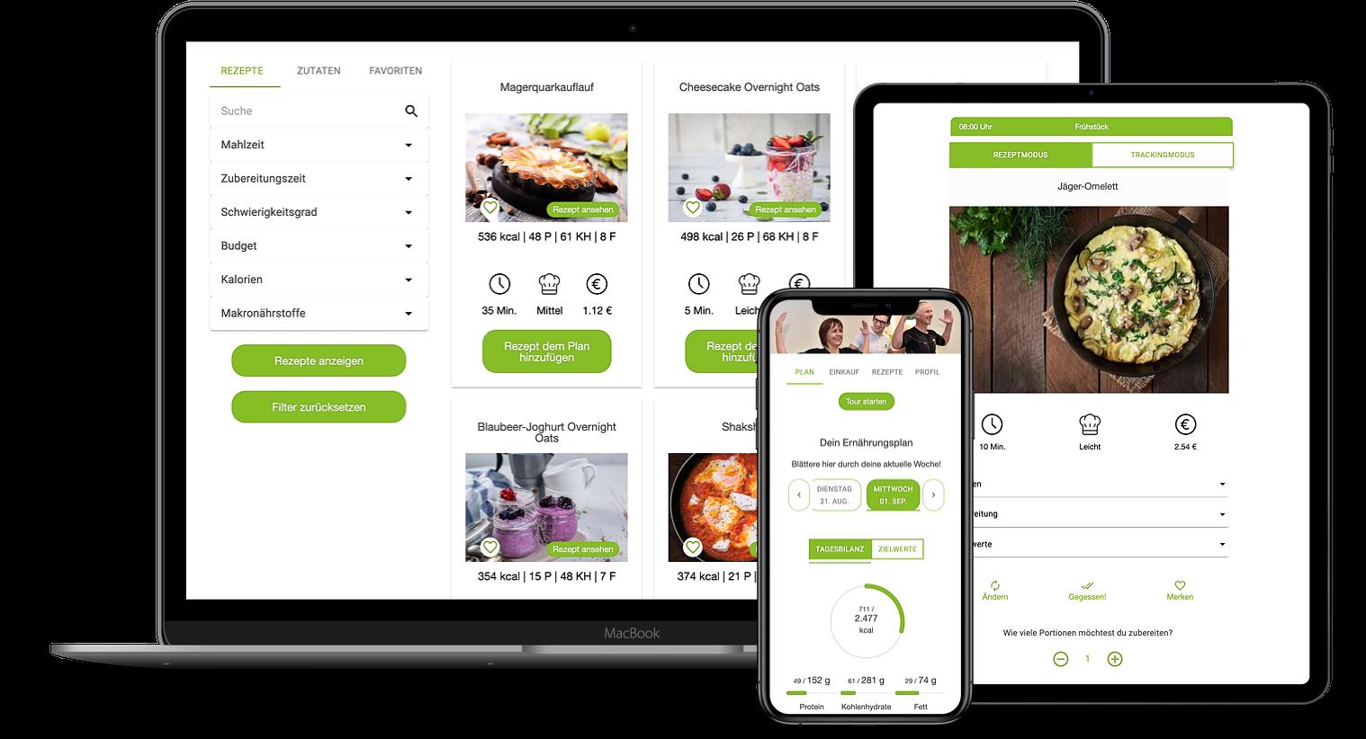 Erfahrungen zur Natty Gains Ernährungssoftware + Ernährungs-App von Personal Trainern, Ernährungsberatern, Gesundheitscoaches - Mockups von PersonalSpeedBox