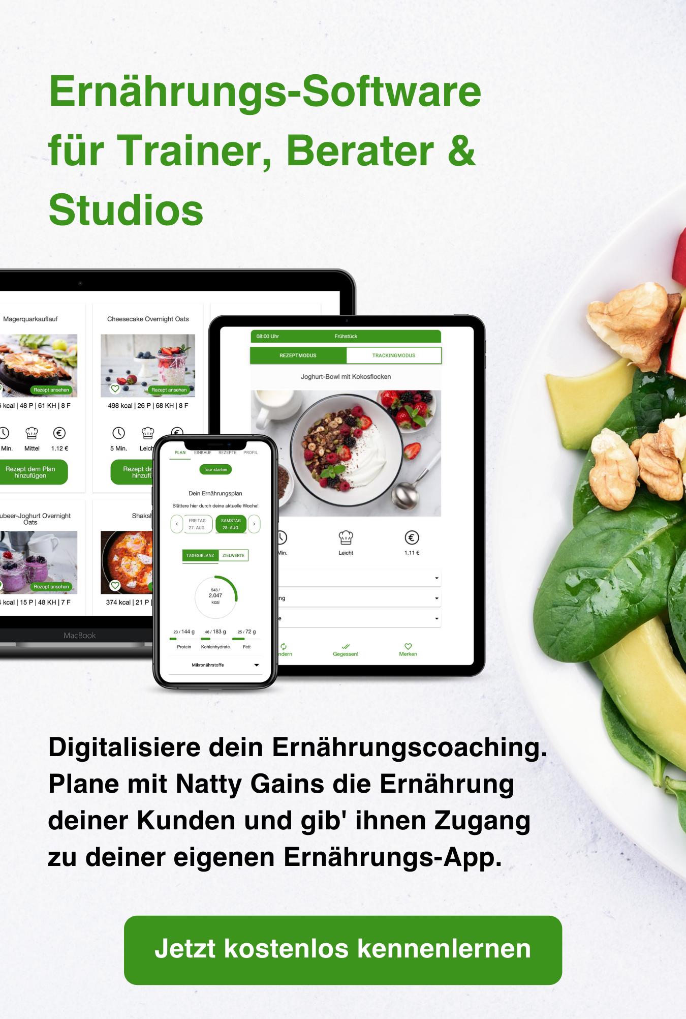 Ernährungsberater-Software per Ernährungs-App - Ernährungspläne erstellen für Personal Trainer, Fitnessstudios, Ernährungsberater mit Natty Gains - mobil